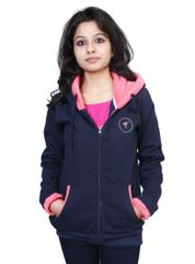 Neva Navy Blue Fleece Hooded Sweatshirts For Women's