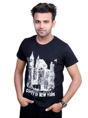 Neva Casual Black Graphic Round T-Shirt For Men's