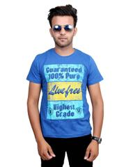 Neva Casual Blue Graphic Round T-Shirt For Men's