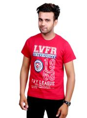 Neva Casual Red Graphic Round T-Shirt For Men's