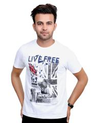 Neva Casual White Graphic Round T-Shirt For Men's