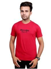 Neva Casual Red Round Neck T-Shirts For Men's