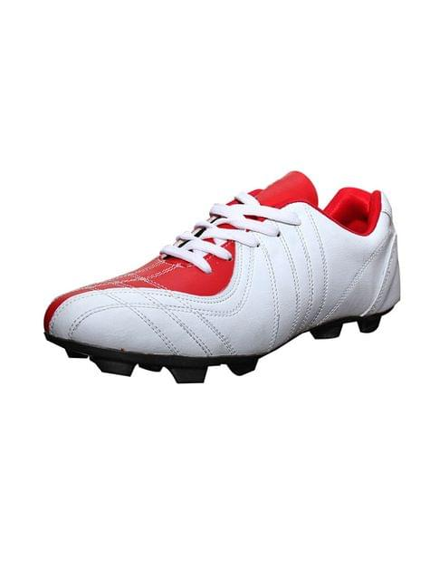 Port Titan Red White PU Football Shoes For Men's
