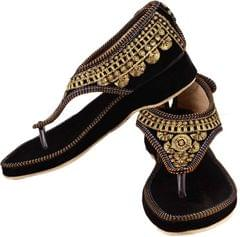 Port Rajasthani Prints Ethnic Women black Flats