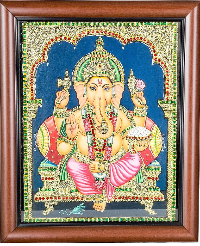Mangala Art Ganesha Tanjore Paintings, Size:15x12 inches, Color:Multi