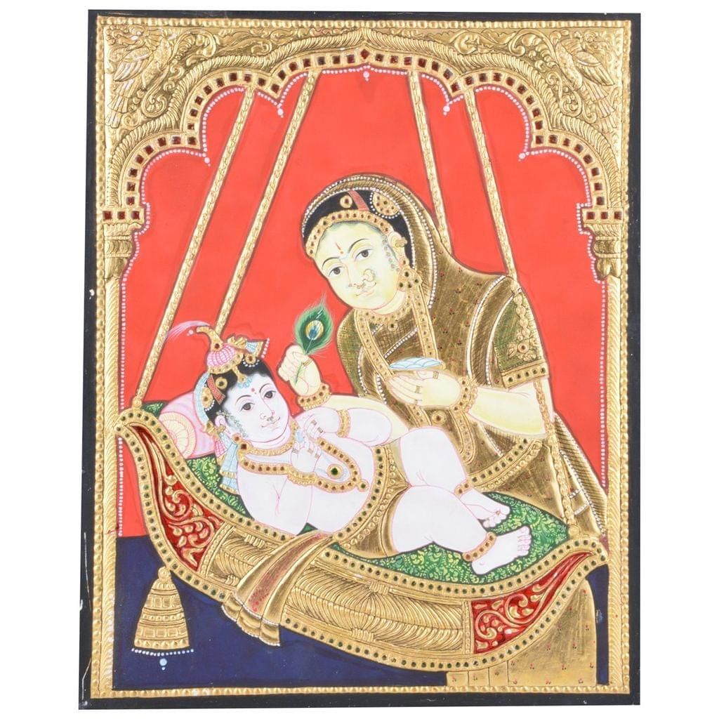 Mangala Art Cradle Krishna Tanjore Paintings Without Frame, Size:15x12 inches, Color:Multi