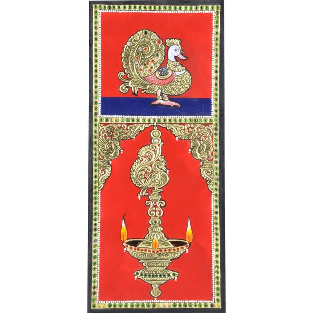 Mangala Art Peacock Deepam Tanjore Paintings, Size:12x6 inches, Color:Multi