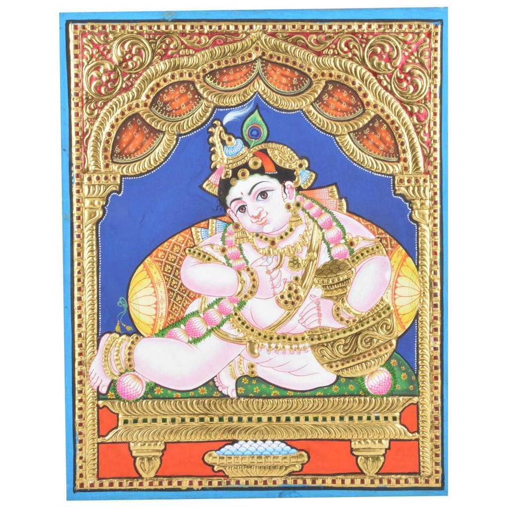 Mangala Art Pot Krishna Tanjore Paintings Without Frame, Size:15x12 inches, Color:Multi