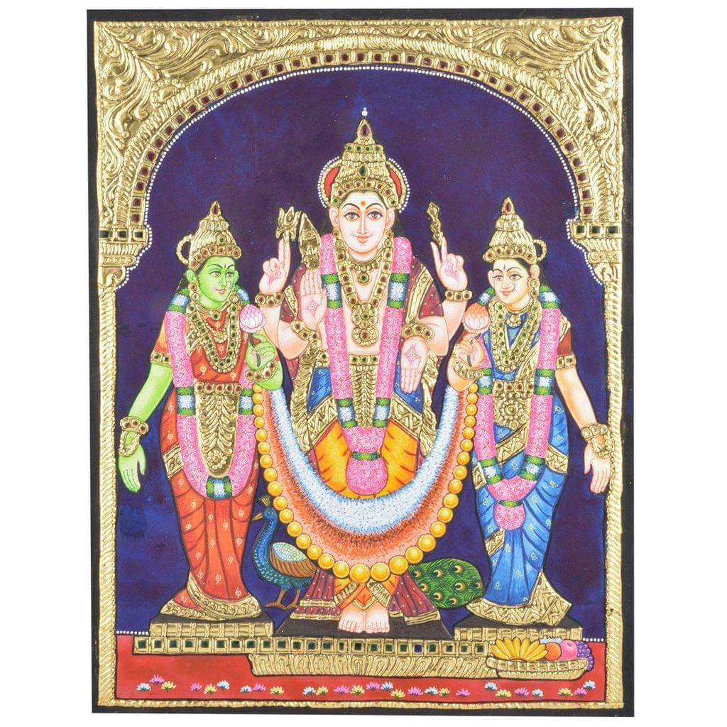 Mangala Art Valli Devaanai Murugan Tanjore Paintings Without Frame, Size:15x12 inches, Color:Multi