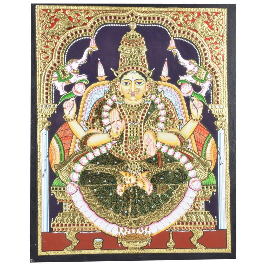 Mangala Art Gaja Lakshmi Tanjore Paintings Without Frame, Size:18x24 inches, Color:Multi