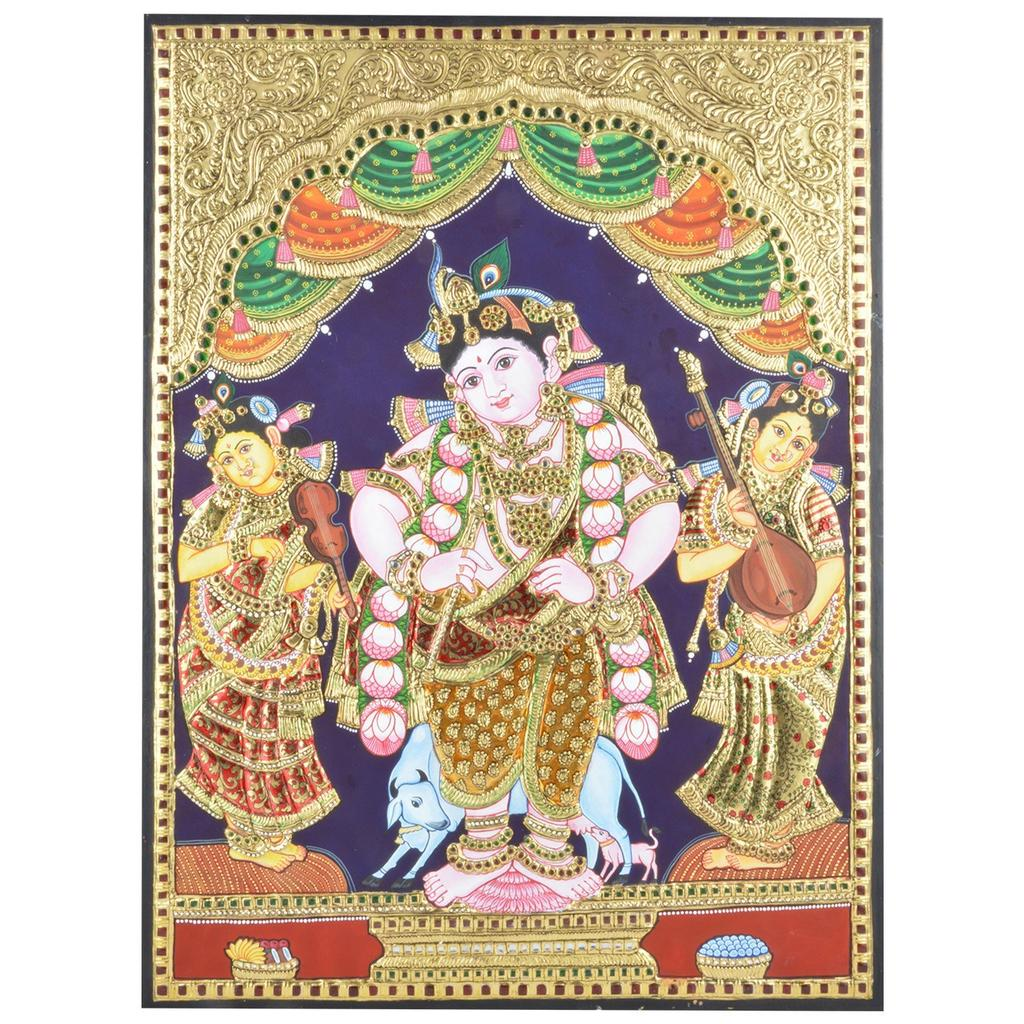 Mangala Art Standing Krishna Tanjore Paintings Without Frame, Size:18x24 inches, Color:Multi