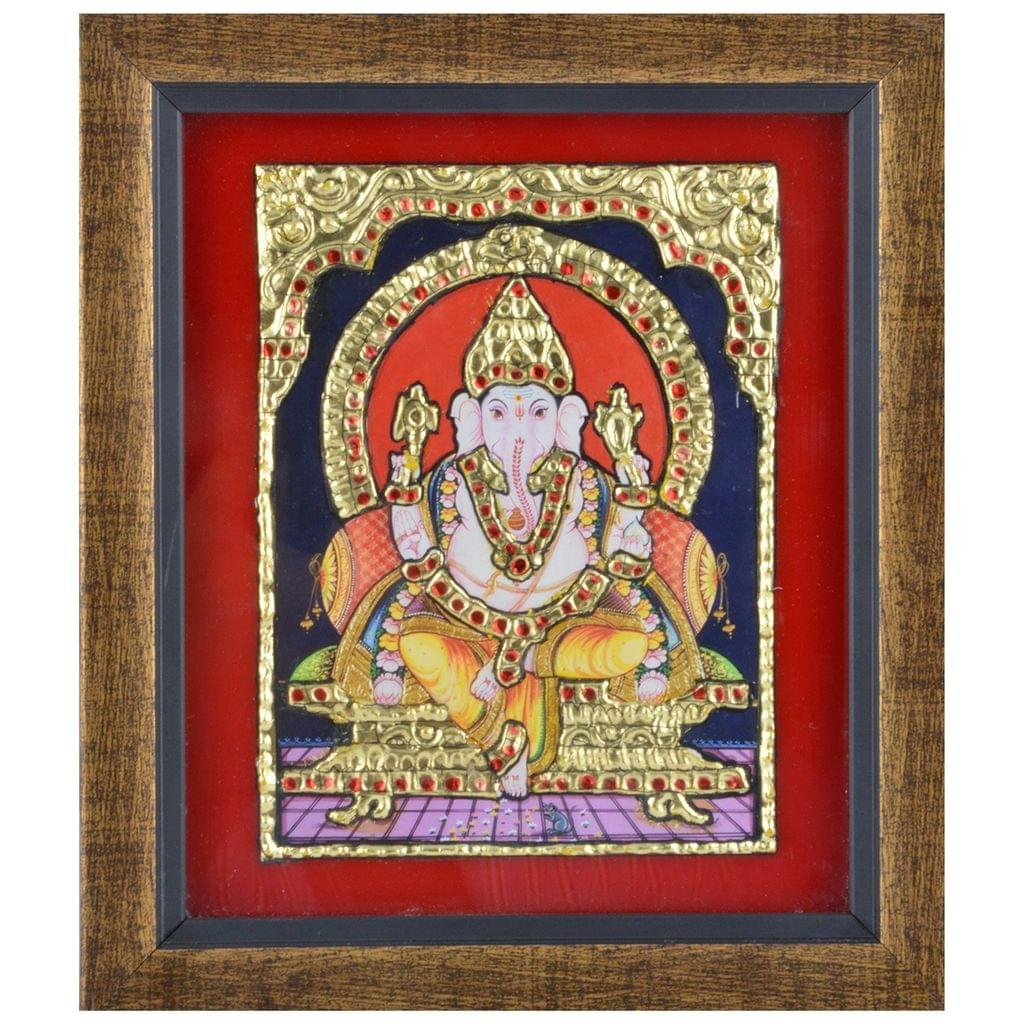 Mangala Art Ganesha Tanjore Paintings, Size:6.5x7.5 inches, Color:Multi