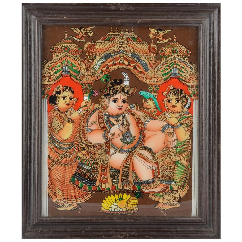 Mangala Art Durbar Krishna Tanjore Glass Painting, Size:11.5x13.5inches, Color:Multi