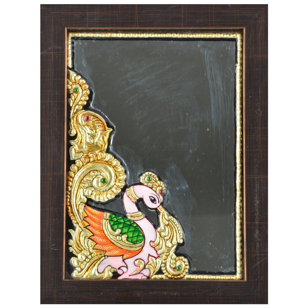 Mangala Art Peacock Mirror Mural Artwork, Size:6x8 inches, Color:Multi