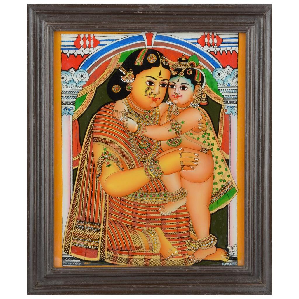 Mangala Art Yashoda Krishna Tanjore Glass Painting, Size:11.5x13.5inches, Color:Multi