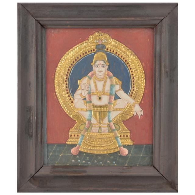 Mangala Art Ayyappan Tanjore Paintings, Size:12.5x10.5inches, Color:Multi
