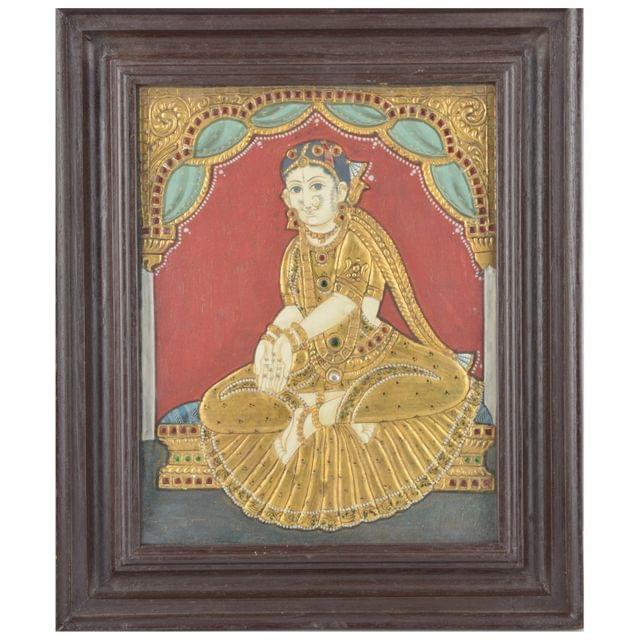 Mangala Art Welcome Girl Tanjore Paintings, Size:12.5x10.5inches, Color:Multi