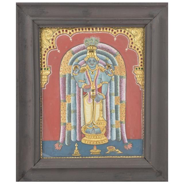 Mangala Art Guruvayoorappan Antique Tanjore Paintings, Size:12.5x10.5 inches, Color:Multi