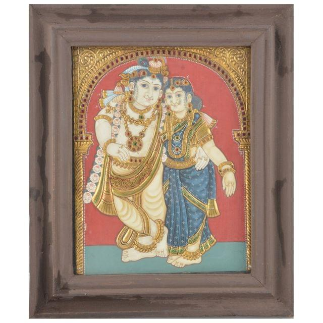 Mangala Art Radha Krishna Tanjore Paintings, Size:12.5x10.5inches, Color:Multi