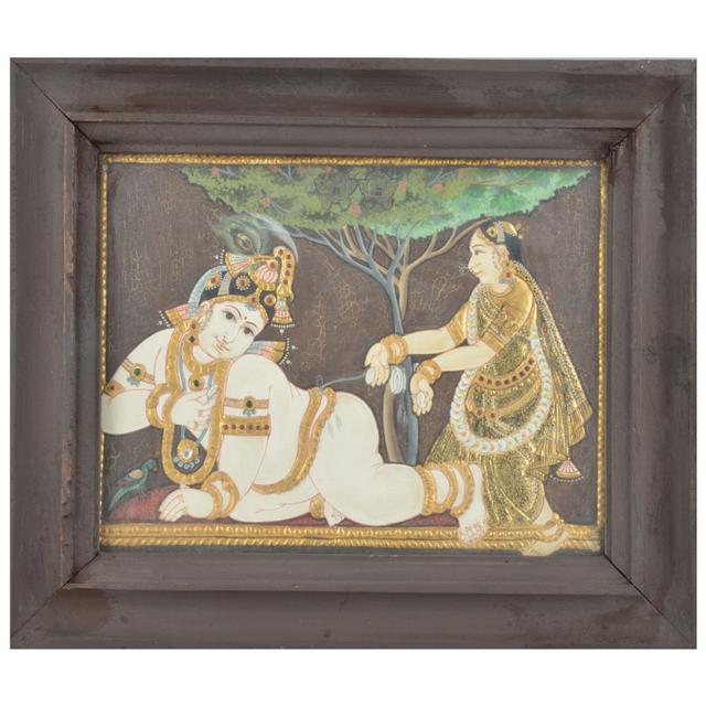 Mangala Art Baby Krishna Tanjore Paintings, Size:12.5x10.5inches, Color:Multi