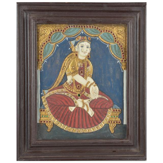 Mangala Art Welcome Girl Tanjore Paintings, Size:12.5x10.5 inches, Color:Multi