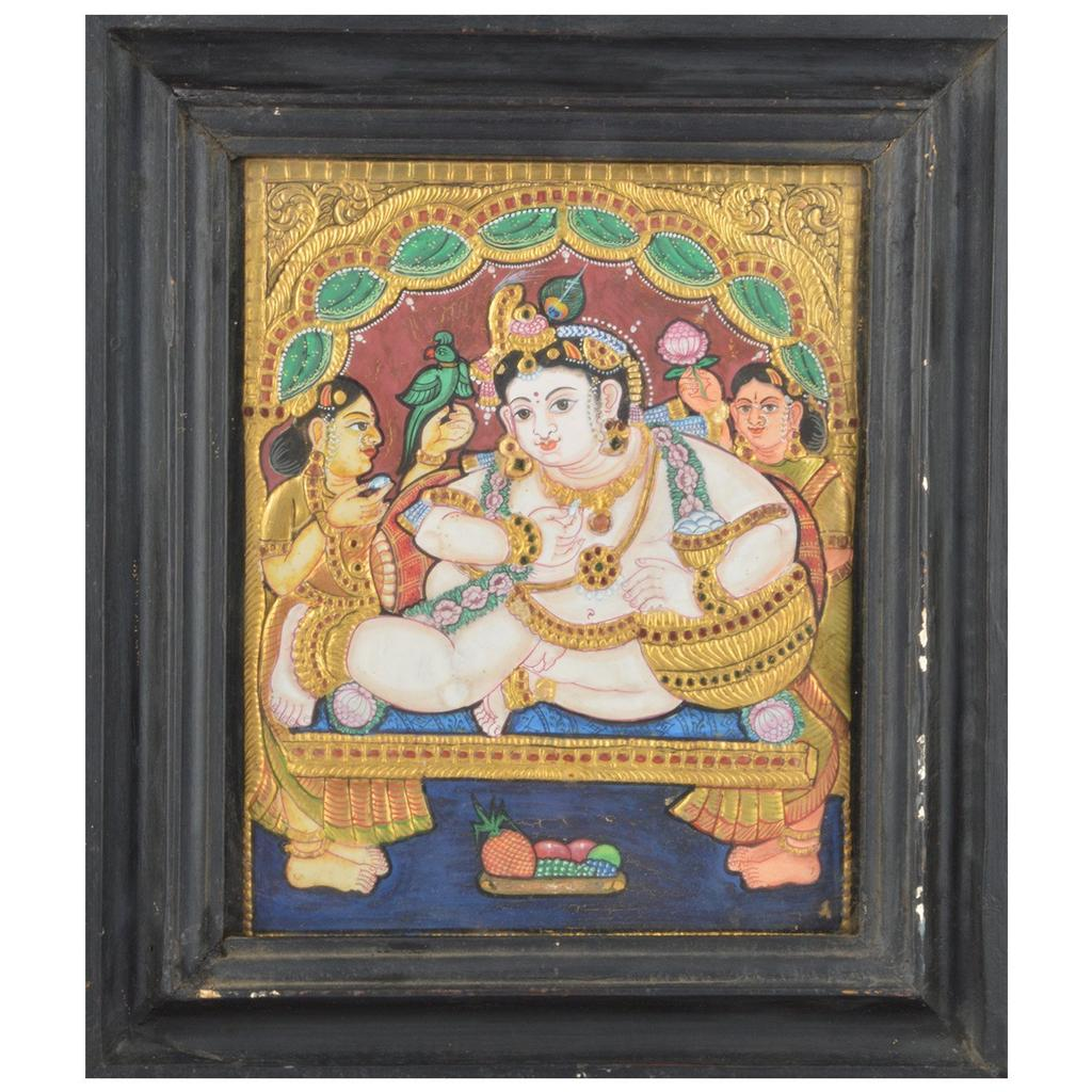 Mangala Art Pot Krishna Tanjore Paintings, Size:12.5x10.5 inches, Color:Multi