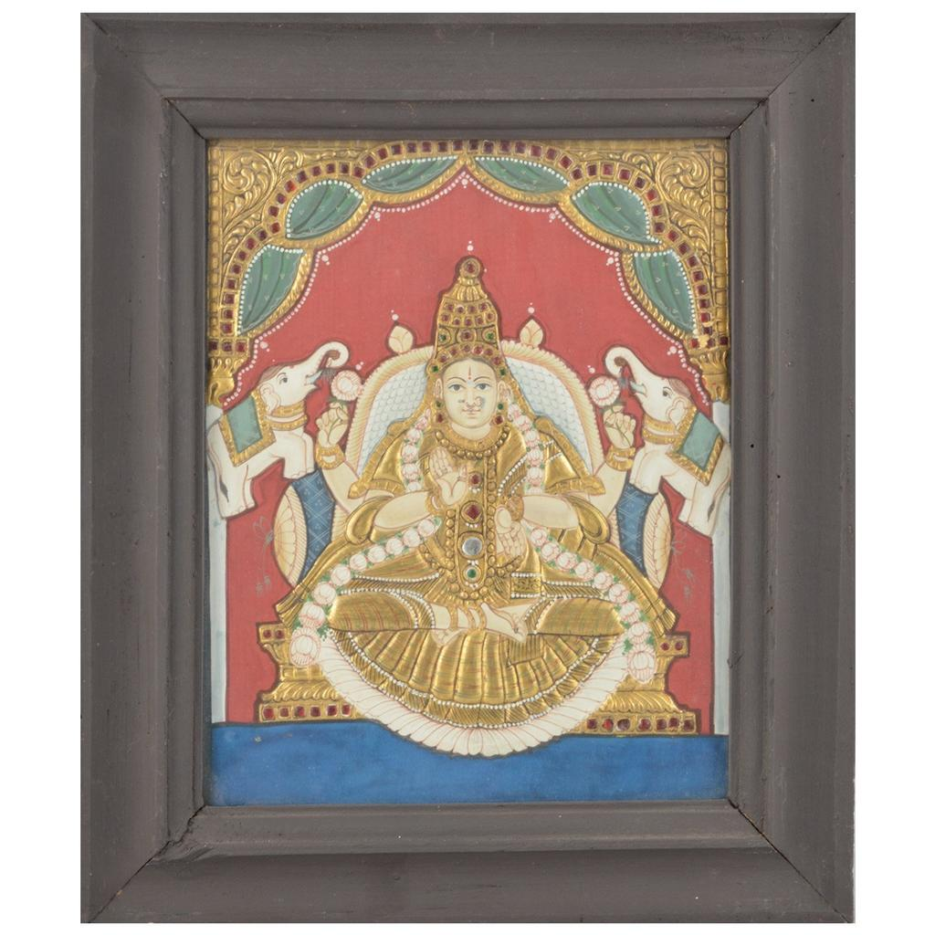 Mangala Art Gaja Lakshmi Tanjore Paintings, Size:12.5x10.5 inches, Color:Multi