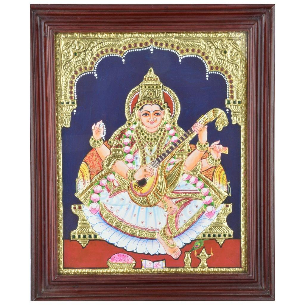 Mangala Art Saraswathi Tanjore Paintings, Size:17x14 inches, Color:Multi
