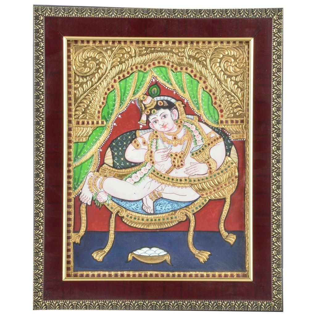 Mangala Art Oonjal Krishna Tanjore Paintings, Size:8x10 inches, Color:Multi