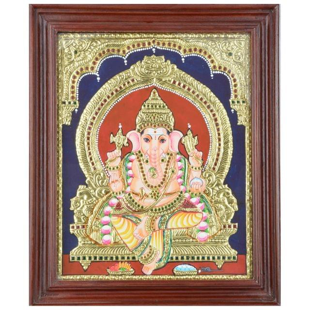 Mangala Art Ganesha Tanjore Paintings, Size:17x14 inches, Color:Multi