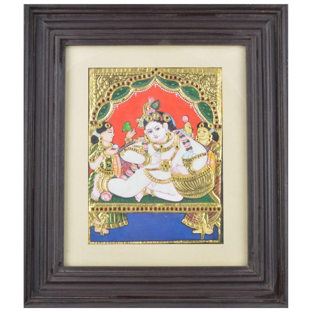 Mangala Art Pot Krishna Tanjore Paintings, Size:13.5x11.5 inches, Color:Multi
