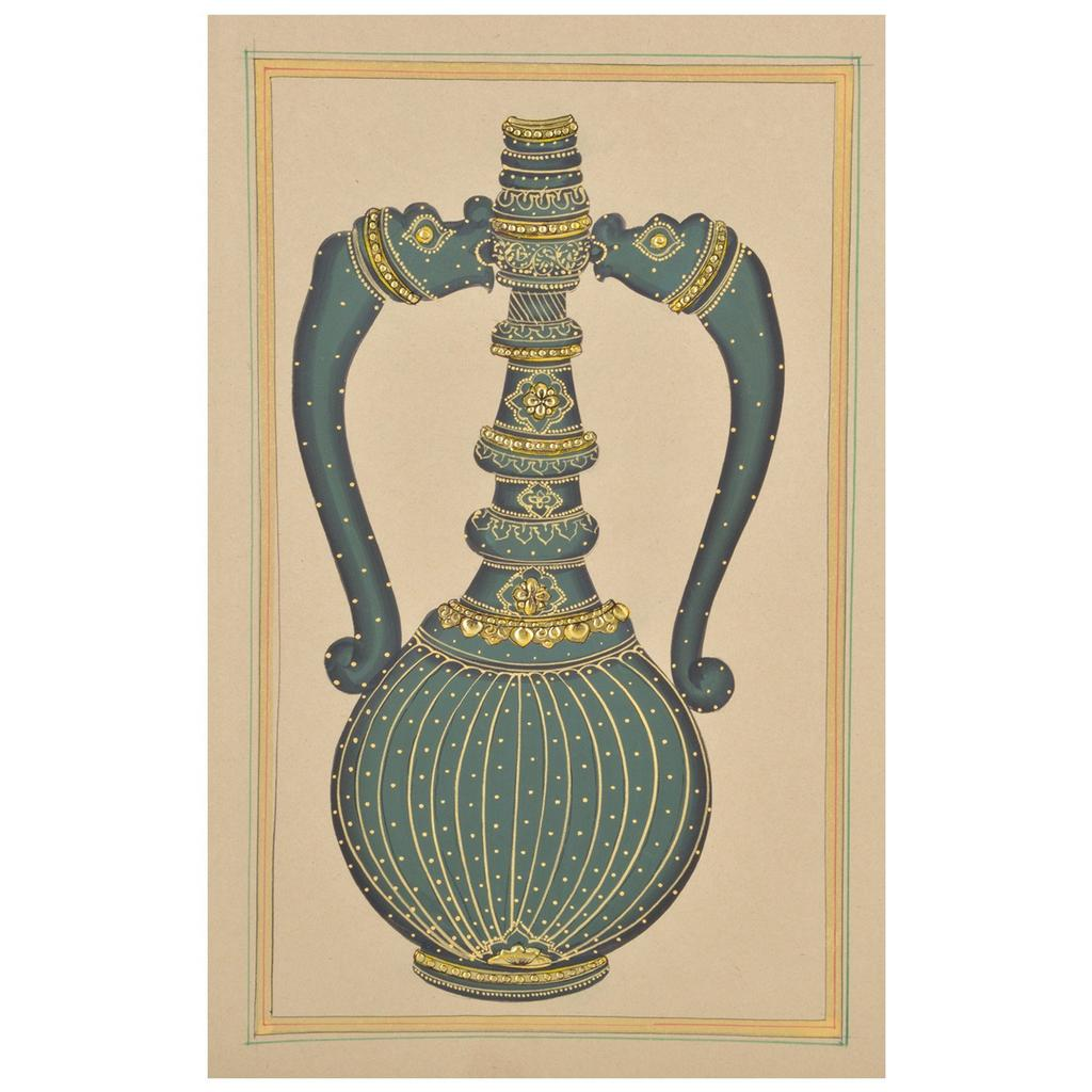 Mangala Art Jaadi Paper Gold Paint Tanjore Artwork Without Frame, Size:7x11 inches, Color:Green