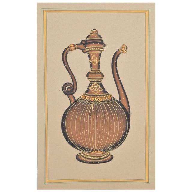 Mangala Art Small Jaadi Paper Gold Paint Tanjore Artwork Without Frame, Size:7x11 inches, Color:Multi