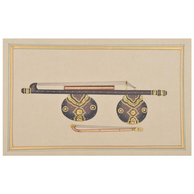 Mangala Art Veenai Paper Gold Paint Tanjore Artwork Without Frame, Size:7x11 inches, Color:Multi
