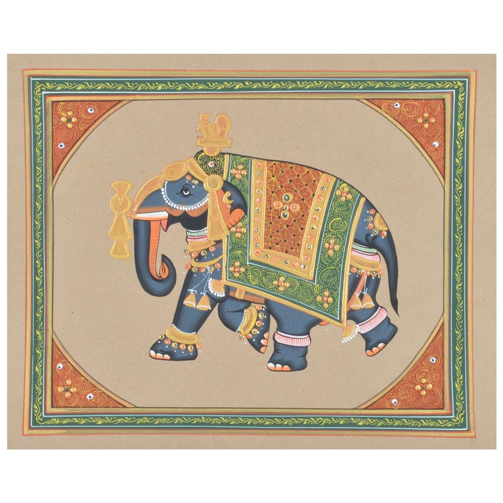 Mangala Art Elephant Paper Gold Paint Tanjore Artwork Without Frame, Size:9x11 inches, Color:Multi