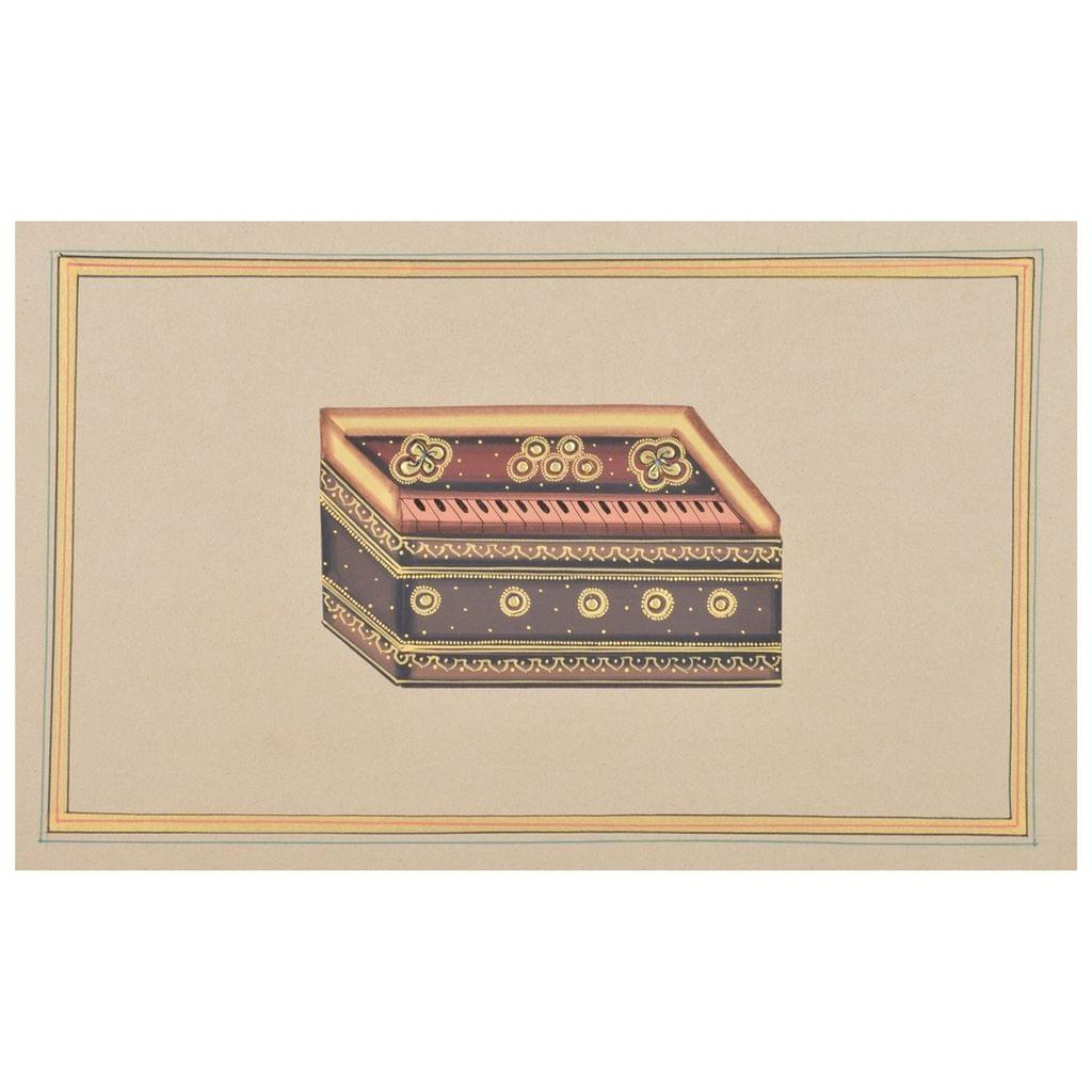 Mangala Art Harmonium Paper Gold Paint Tanjore Artwork Without Frame, Size:7x11 inches, Color:Multi