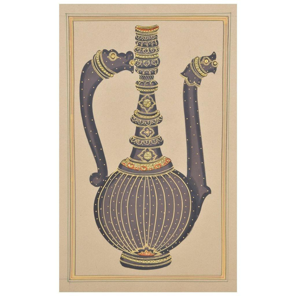 Mangala Art Long Jaadi Paper Gold Paint Tanjore Artwork Without Frame, Size:9x11 inches, Color:Multi