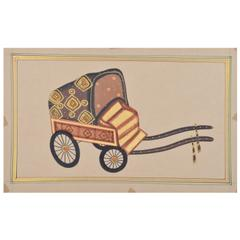 Mangala Art Rickshaw Paper Gold Paint Tanjore Artwork Without Frame, Size:13x11 inches, Color:Multi