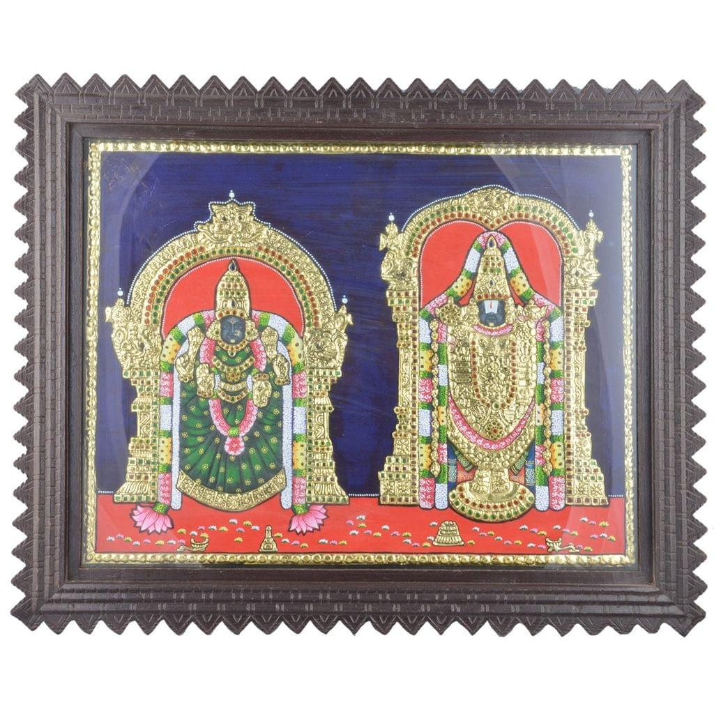 Mangala Art Thayar Perumal Tanjore Paintings, Size:24x20inches, Color:Multi