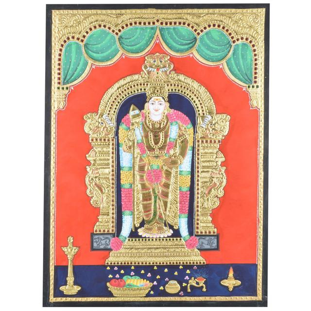 Mangala Art Murugan Tanjore Paintings Without Frame, Size:24x18 inches, Color:Multi