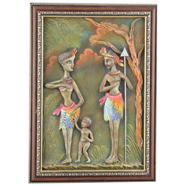 Mangala Art Tribal People M-seal Mural Artwork, Size:15x12 inches, Color:Multi