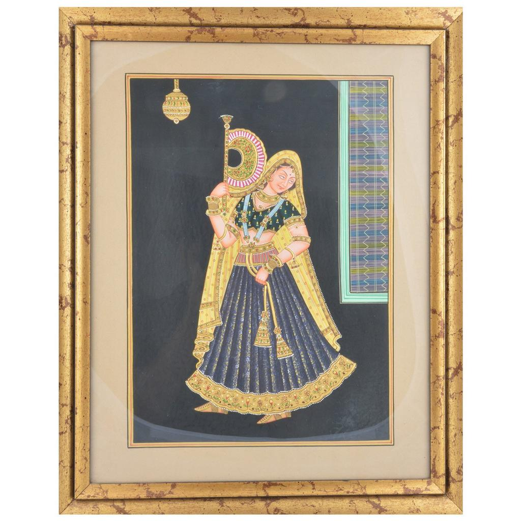 Mangala Art Queen Paper Gold Paint Tanjore Artwork, Size:18x14 inches, Color:Multi