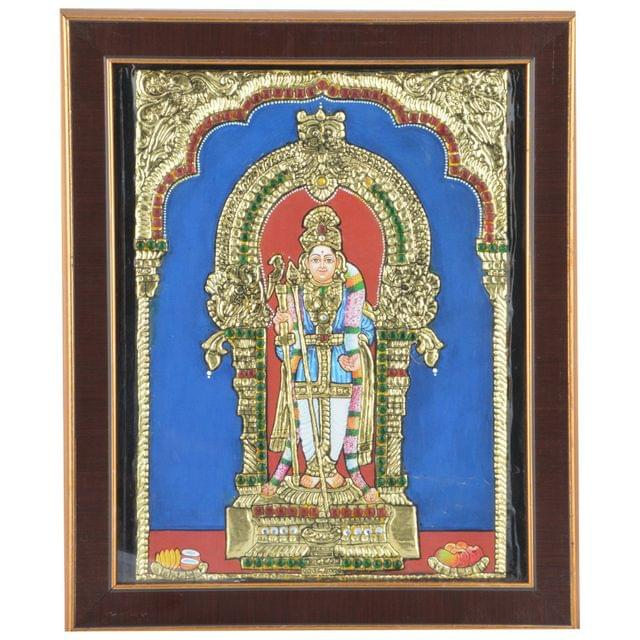 Mangala Art Raja Alangara Murugan Tanjore Artwork with Acrylic Base, Size:15x12inches, Color:Multi
