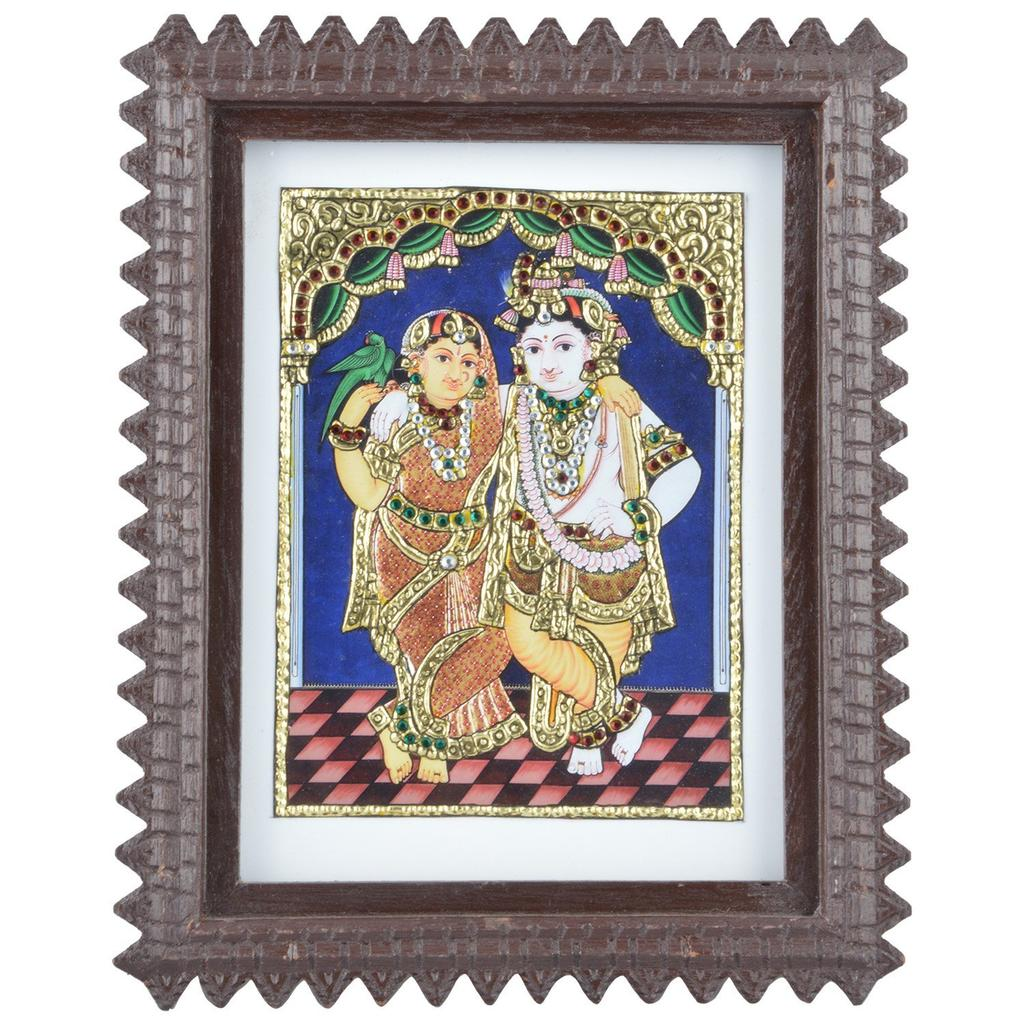 Mangala Art Radha Krishna Tanjore Artwork with Acrylic Base, Size:9.5x7.5inches, Color:Multi