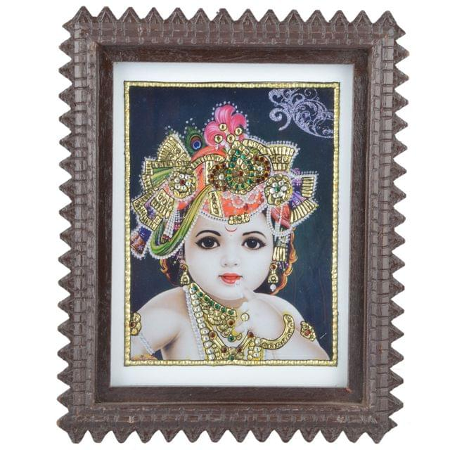 Mangala Art Face Krishna Tanjore Artwork with Acrylic Base, Size:9.5x7.5inches, Color:Multi