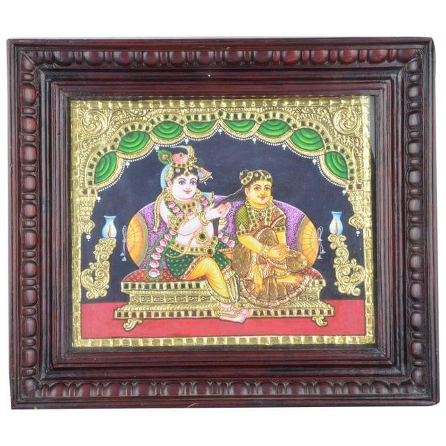 Mangala Art Radha Krishna Tanjore Paintings, Size:10x12 inches, Color:Multi