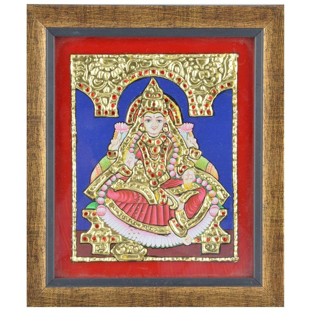 "Mangala Art Lakshmi  Indian Traditional Tamil Nadu Culture Tanjore Acrylic Base Painting -19x16cms (7.5""x6.5"")"