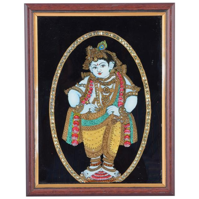 Mangala Art Standing Krishna Tanjore Glass Painting, Size:8x6inches, Color:Multi