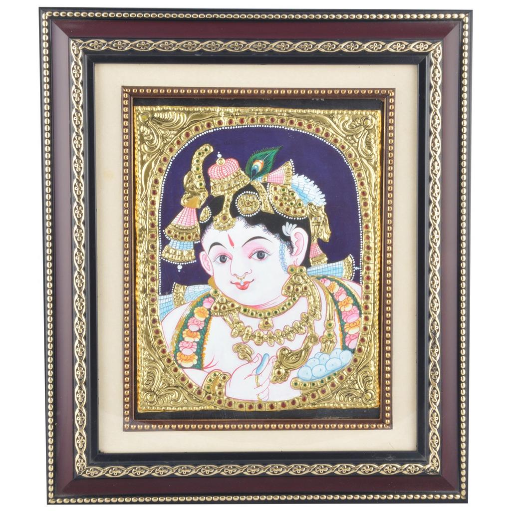 "Mangala Art Face Krishna Indian Traditional Tamil Nadu Culture Tanjore Painting - 30x35cms (12""x14"")"