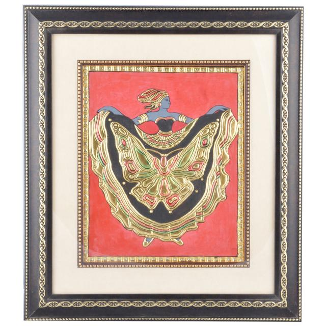 Mangala Art Roman Figure Butterfly M-seal Mural Artwork, Size:16x14 inches, Color:Multi